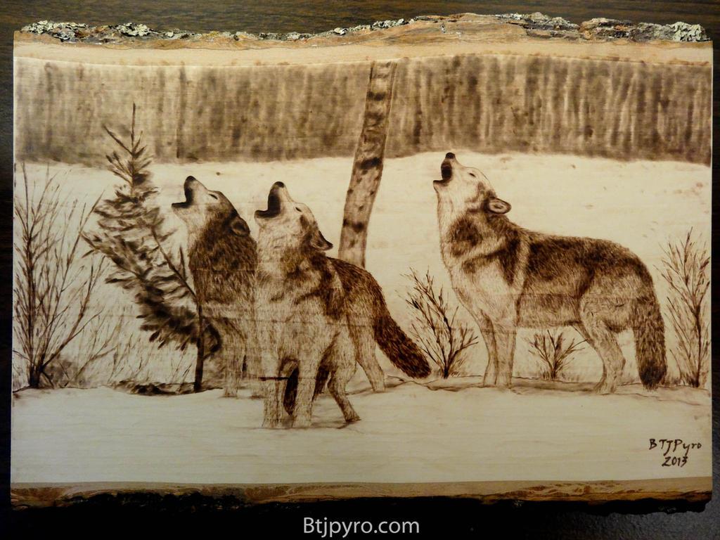 Wolves Wood burning by brandojones on DeviantArt