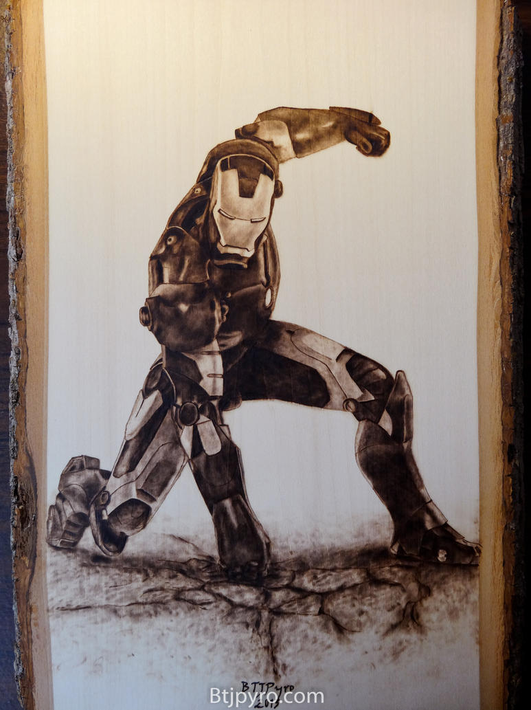 Iron Man - wood burning by brandojones