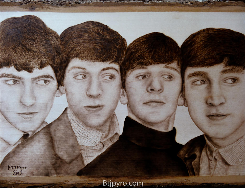 The Beatles portrait - wood burning by brandojones