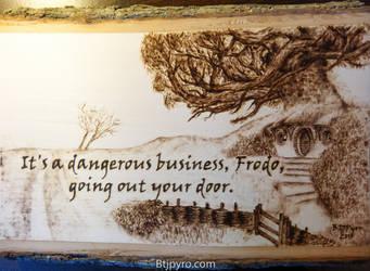 LOTR hobbit cottage + quote --- Wood burning by brandojones