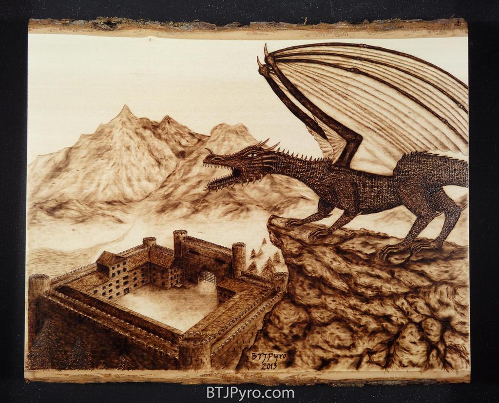 Dragon on The Edge - Woodburning by brandojones