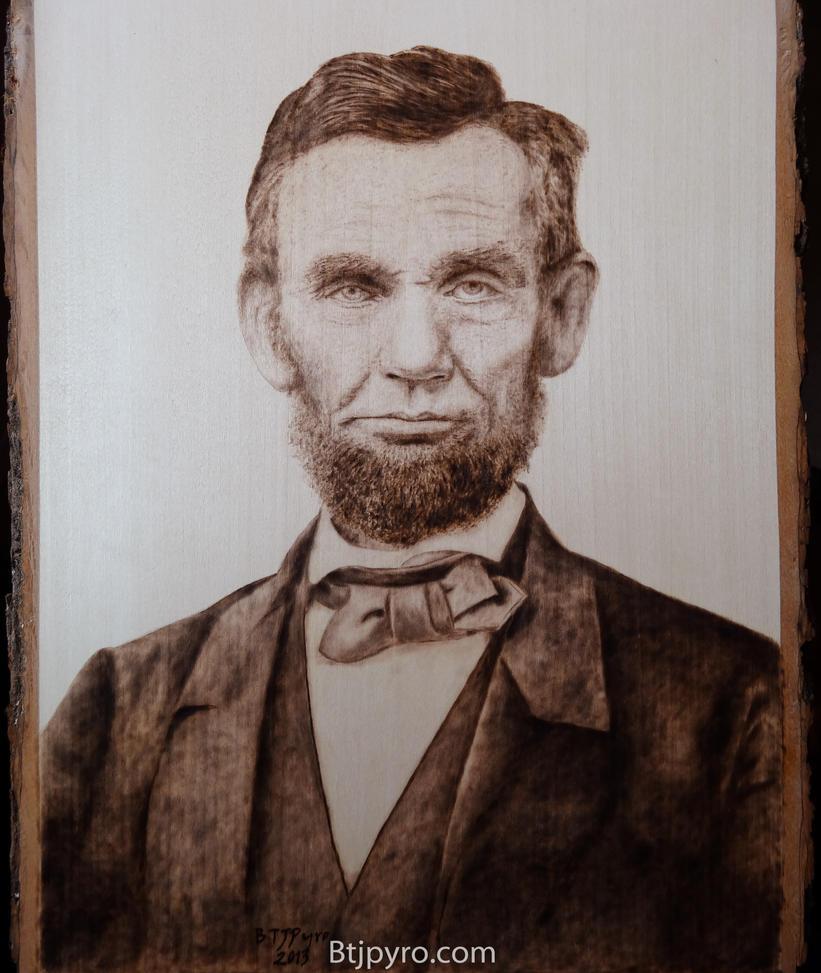 Abraham Lincoln - woodburning by brandojones