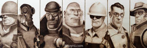 Team Fortress 2 - Class Portraits - Woodburning