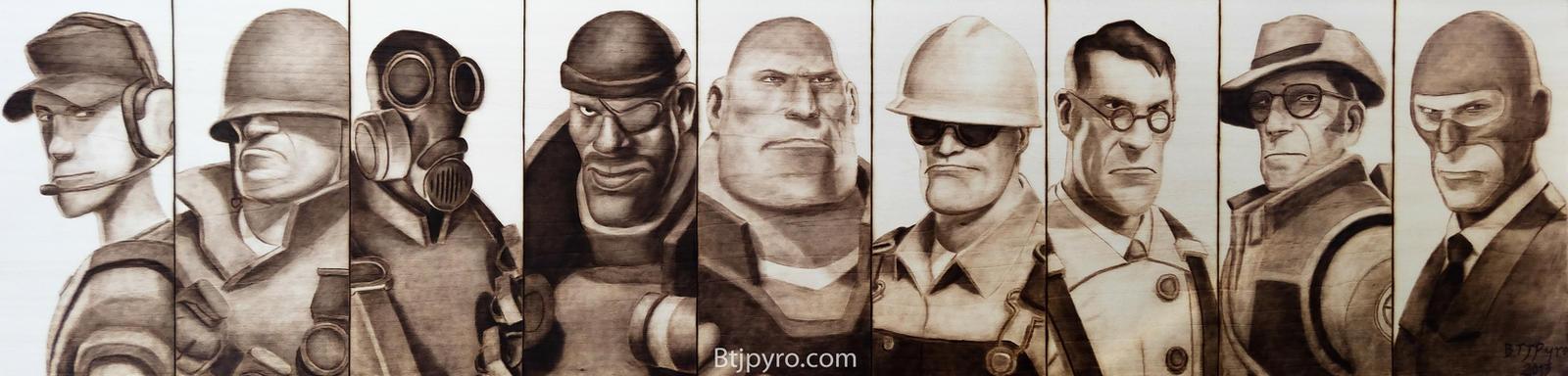 Team Fortress 2 - Class Portraits - Woodburning by brandojones