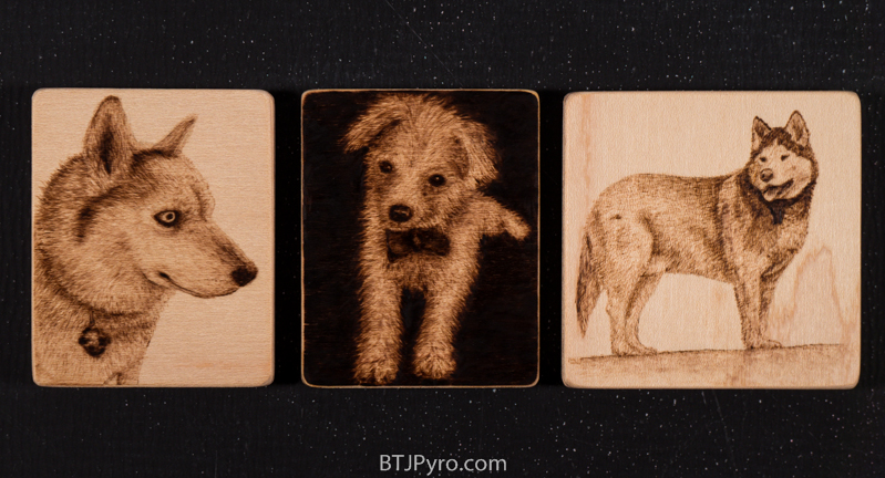 Tikaani , R.B., and Akiisan - Mini woodburnings by brandojones