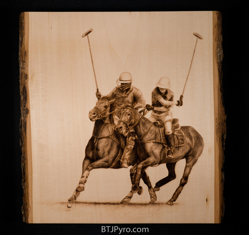 Horse Polo - woodburning by brandojones