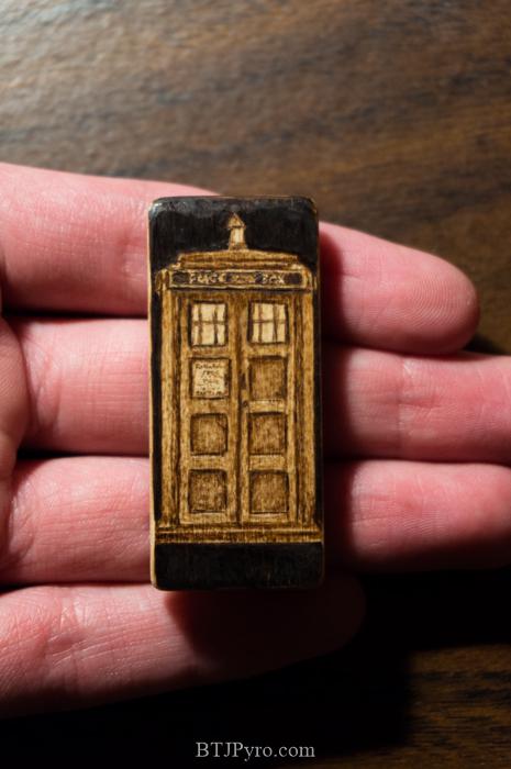 Mini TARDIS - Handmade woodburning by brandojones
