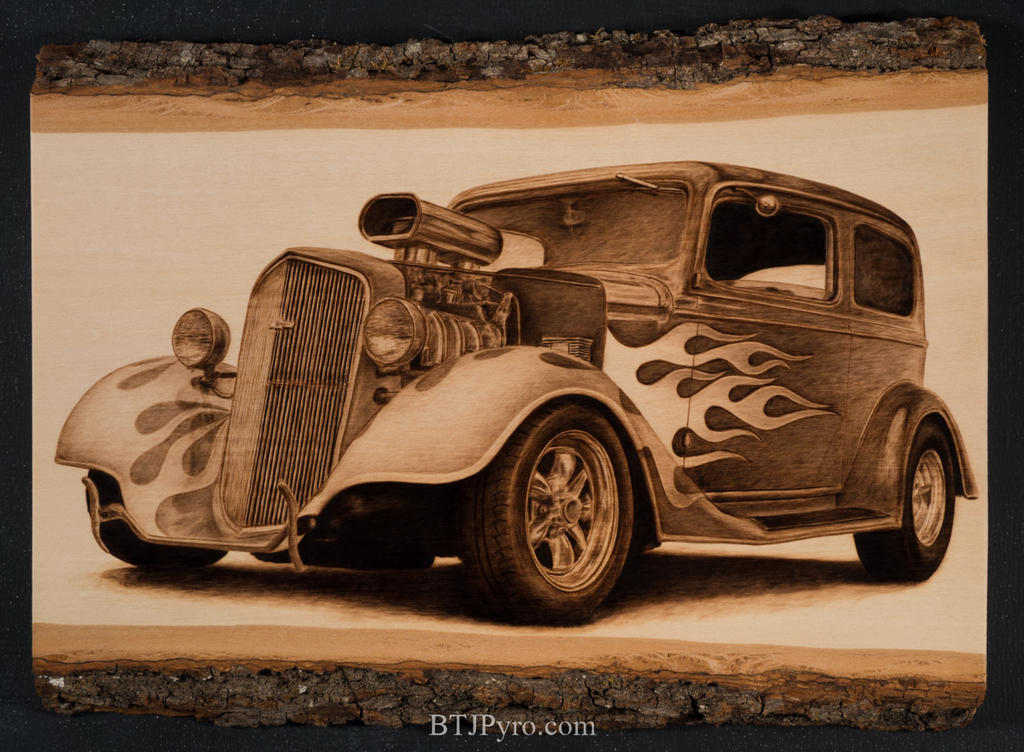 Pyrography of a Hot Rod by brandojones