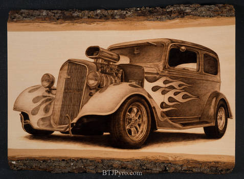 Pyrography of a Hot Rod