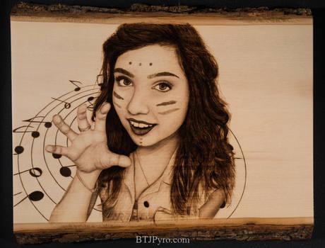 Pyrographed portrait of a friend