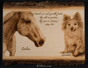 Pyrography Portrait of a Horse and Dog
