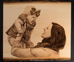 Pyrography Portrait of a Mother and Daughter