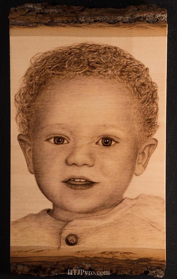 Pyrography Portrait of My Nephew by brandojones
