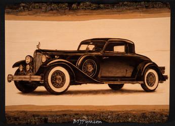 Pyrography of a Rolls-Royce