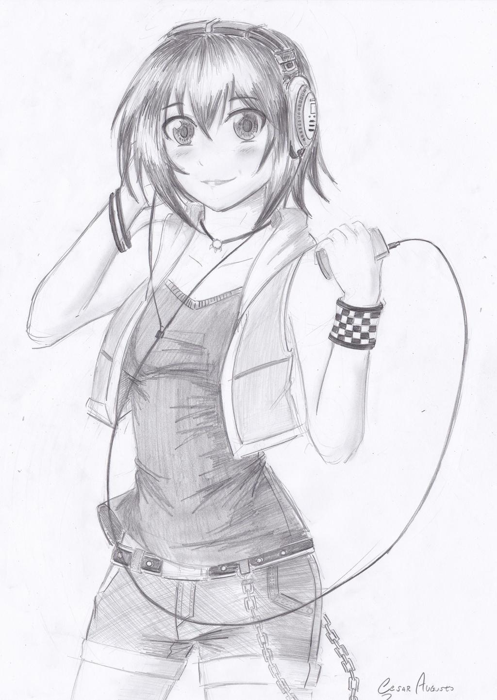 Anime Girl With Hoodie And Headphones Drawing How to draw headphonesHow To Draw Anime Girl With Hoodie