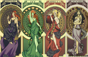 Mucha-Gotham City Sirens by penguinfaery