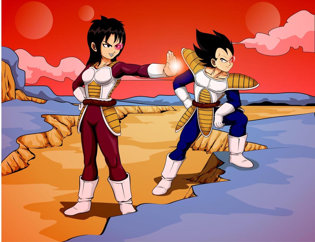 Fan Art Vegeta and female saiyan apprentice by JTSubconscious8