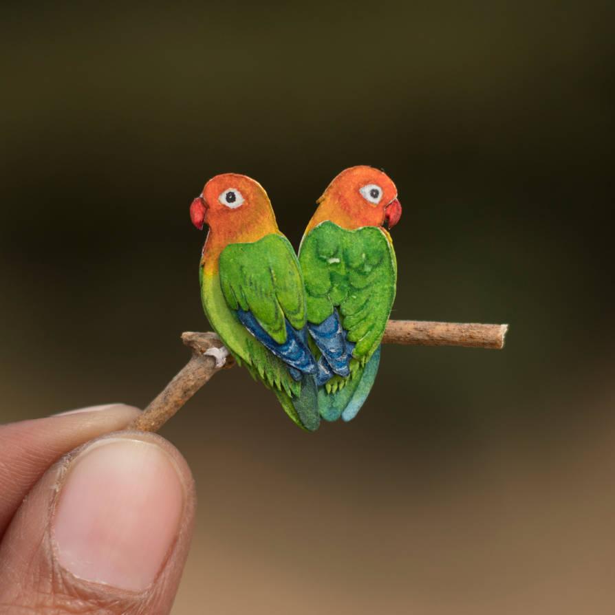 Fischer's lovebird - Paper cut birds by NVillustration