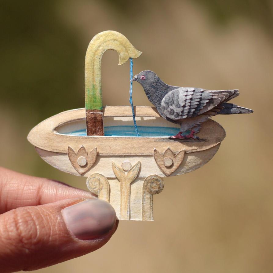 Rock dove - Paper cut birds by NVillustration