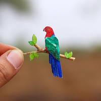 Australian King Parrot - Paper cut birds by NVillustration