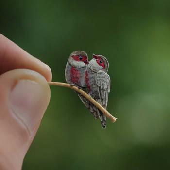 Common waxbill - Paper cut birds