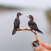 Little Cormorant - Paper cut birds by NVillustration
