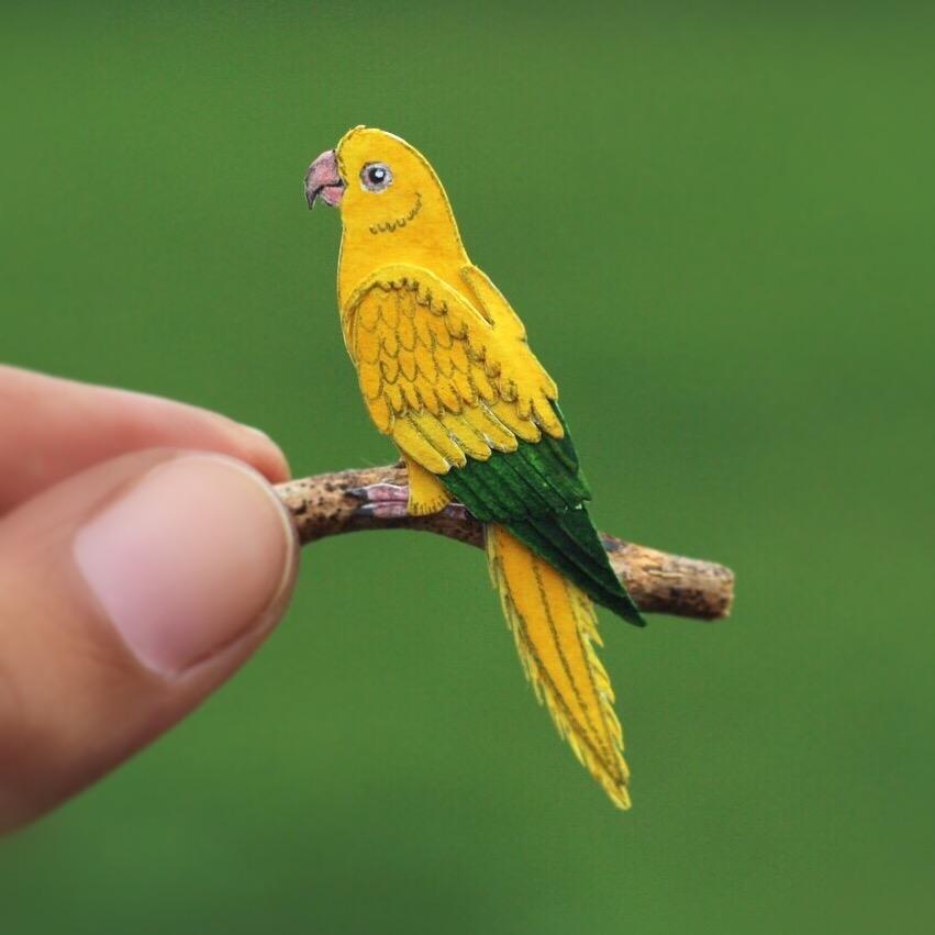 Golden Parakeet - Paper cut birds by NVillustration