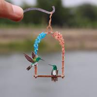 Snowy-bellied Hummingbird - Paper cut birds by NVillustration
