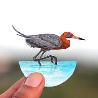 Reddish Egret - Paper cut birds by NVillustration