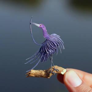 Little Blue Heron - Paper cut birds