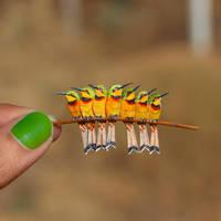 Little Bee-eaters - Paper cut birds