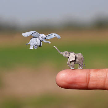 Baby African Elephant and Dumbo - Paper cut art by NVillustration