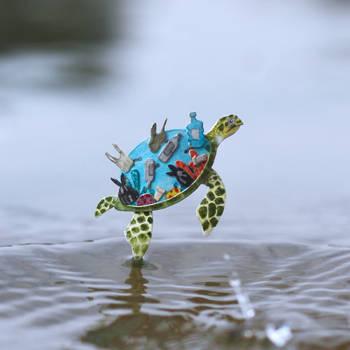 Hawksbill Sea Turtle - Paper cut art by NVillustration