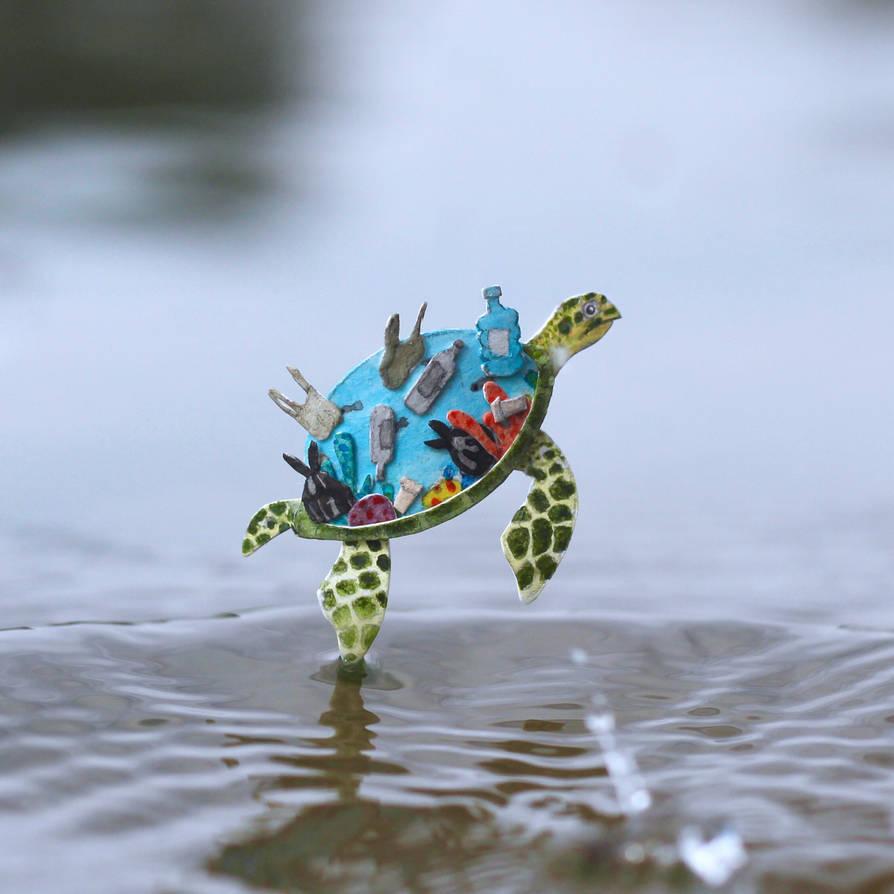 Hawksbill Sea Turtle - Paper cut art