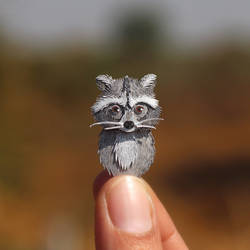 Baby Racoon  - Paper cut art by NVillustration
