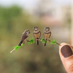 Double Barred Finch - Paper cut birds