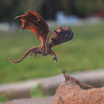 Drogon met Komodo Dragon - Paper cut art by NVillustration