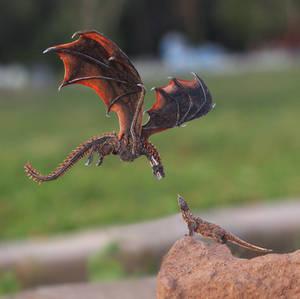 Drogon met Komodo Dragon - Paper cut art