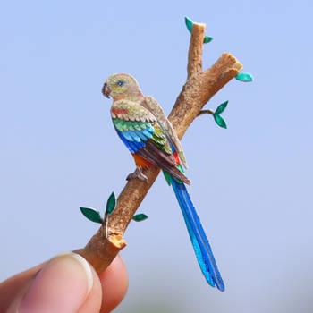 Mulga Parrot (Female) - Paper Cut Birds by NVillustration
