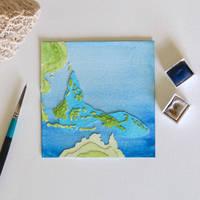 Coral Triangle (Map) - Paper Cut Artwork