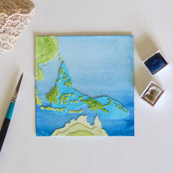 Coral Triangle (Map) - Paper Cut Artwork by NVillustration