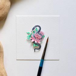 Mexican Black Kingsnake - Paper cut art