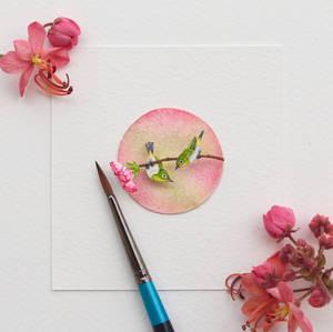 Japanese White Eye - Paper Cut Birds