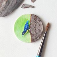 Blue Nuthatch - Paper Cut Birds