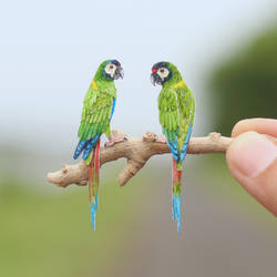 Blue Winged Macaw - Paper Cut Birds