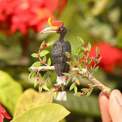 Rhinoceros Hornbill - Paper Cut Birds