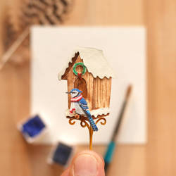 Blue Jay at his Christmas home - Paper Cut Birds