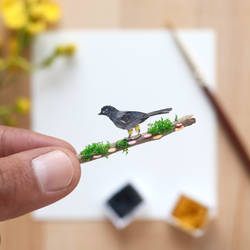 The Yellow Thighed Finch - Paper Cut art