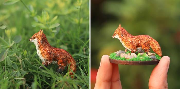 The Red Fox 3D sculpture - Paper Cut art