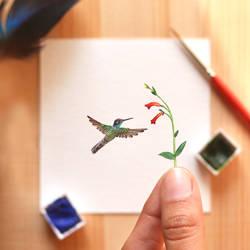 The Rivolis hummingbird - Paper Cut art